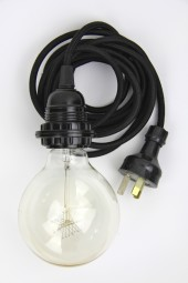 ZZ. 3m cloth cord + fixture + plug. Black with black.