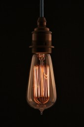 (a) Thomas Edison light bulb. Tear drop short. Screw. 40watt. Pk1.