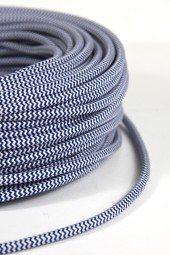 Fabric Cloth Electrical Cord x1m. ZigZag Dark Blue.