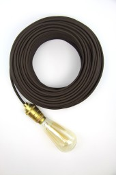 Fabric Cloth Electrical Cord x1m. Dark Brown.