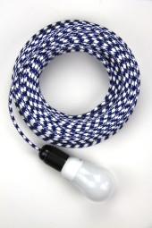 Fabric Cloth Electrical Cord x1m. Houndstooth Dark Blue.