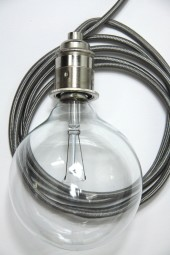 ZZ. 3m cloth cord + fixture + plug. Dark grey with silver.