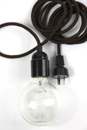 ZZ. 3m cloth cord + fixture + plug. Dark brown with black.