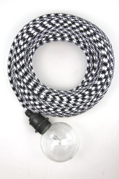 Fabric Cloth Electrical Cord x1m. Houndstooth Black and White.