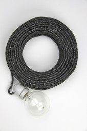Fabric cloth electrical cord x1m. Dark grey woven.