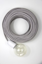 Fabric Cloth Electrical Cord x1m. Metallic Silver.