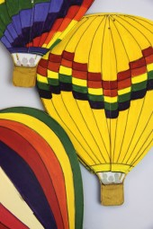 Hand made mobiles – Hot Air Balloons.
