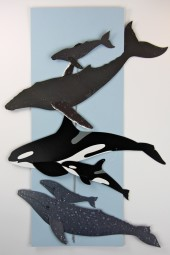 Hand made mobiles – whales.