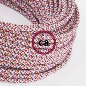 Fabric Cloth Electrical Cord x1m. Pixel pink purple