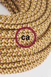 Fabric Cloth Electrical Cord x1m. Pixel yellow orange
