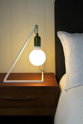 Geometric bedside table lampstand white