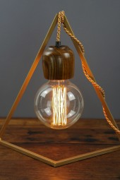 Geometric bedside table lampstand Gold