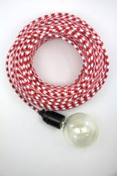 Fabric Cloth Electrical Cord x1m. Houndstooth Red.