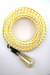 Fabric Cloth Electrical Cord x1m. Houndstooth Yellow.