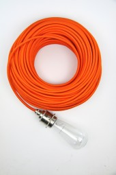 Fabric Cloth Electrical Cord x1m. Bright Orange.