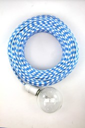 Fabric Cloth Electrical Cord x1m. Houndstooth Mid Blue.