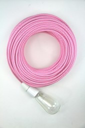Fabric Cloth Electrical Cord x1m. ZigZag Pink.