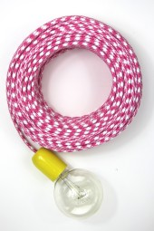 Fabric Cloth Electrical Cord x1m. Houndstooth Pink.