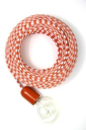 Fabric Cloth Electrical Cord x1m. Houndstooth Orange.