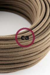 Fabric Cloth Electrical Cord x1m. brown sand cotton