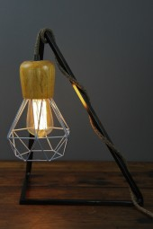 Geometric bedside table lampstand black